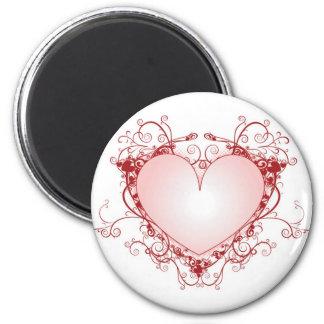Heart Filigree 2 Inch Round Magnet