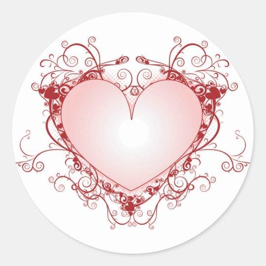 Heart Filigree Classic Round Sticker