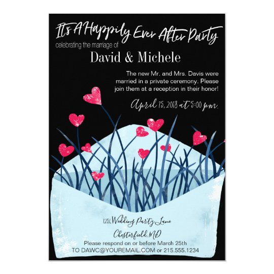 After Party Wedding Invitations: Heart Filled After/Post Wedding Invitation