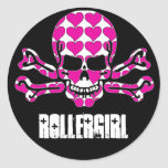 heart-filled skull classic round sticker