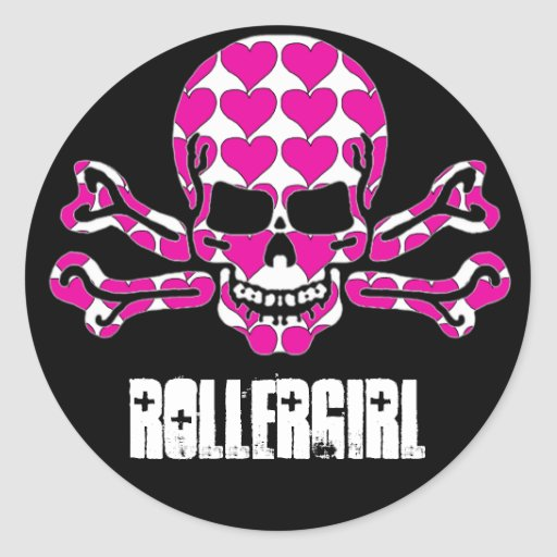 heart-filled skull classic round sticker