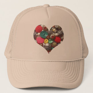 Heart Filled with Red and Green Buttons Trucker Hat
