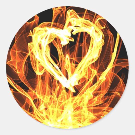 Heart Fire Classic Round Sticker