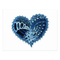 Heart Fire Doodle Postcard