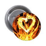 Heart Fire Pinback Button