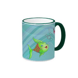 HEART FISH BUBBLE by SHARON SHARPE Ringer Mug
