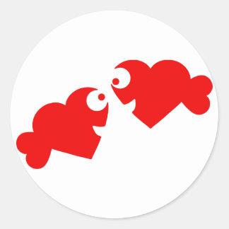 heart fish classic round sticker
