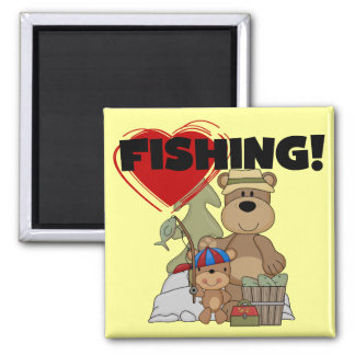 HEART Fishing Tshirts and Gifts 2 Inch Square Magnet
