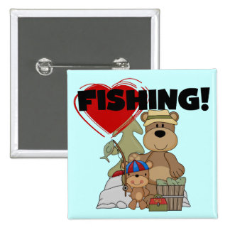 HEART Fishing Tshirts and Gifts Pinback Button