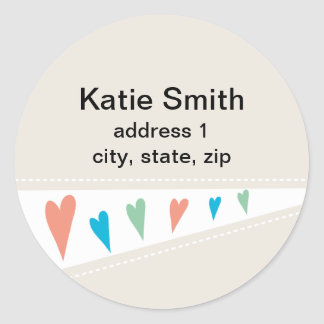 Heart Flag Address Labels Classic Round Sticker