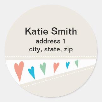 Heart Flag Address Labels Sticker