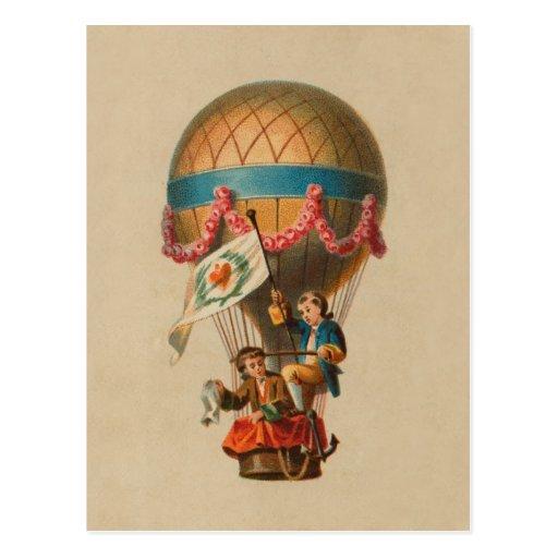 Heart Flag Hot Air Balloon Post Cards