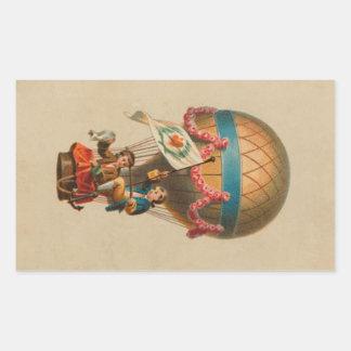 Heart Flag Hot Air Balloon Rectangular Sticker