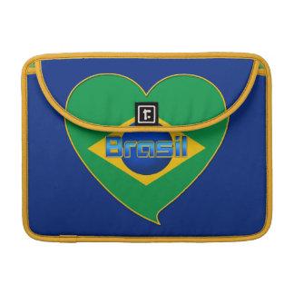 Heart Flag of BRAZIL Brazilian national flag Sleeve For MacBooks