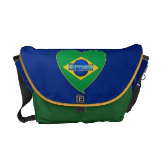 Heart Flag of BRAZIL Brazilian national flag Courier Bags