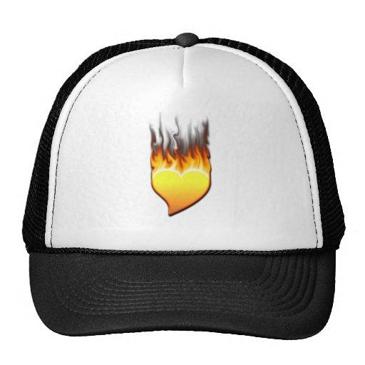 Heart Flame tilted III Trucker Hats
