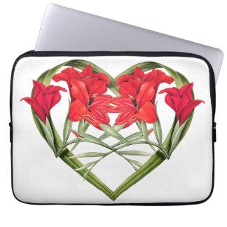 Heart Floral Gladiola Flowers Laptop Sleeve