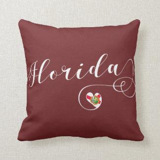 Heart Florida Pillow, Miami Floridian Throw Pillow