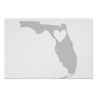 Heart Florida state silhouette Poster