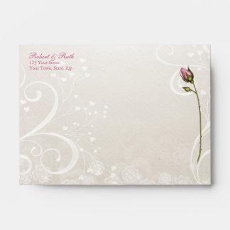 Heart Flourish Pink Wedding Invitation A6 Envelope