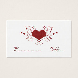 Heart Flourish Place Card, Red Business Card