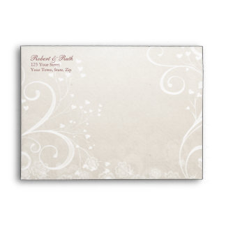 Heart Flourish Rose Wedding Invitation A7 Envelope