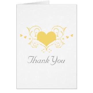 Heart Flourish Thank You Card, Yellow Card