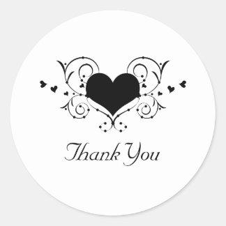 Heart Flourish Thank You Stickers, Black