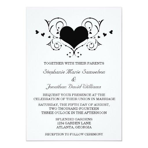 Heart Flourish Wedding Invitation, Black 5x7 Paper Invitation Card