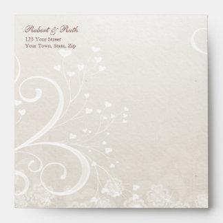 Heart Flourish Wedding Invitation Square Envelopes