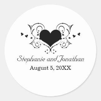 Heart Flourish Wedding Stickers, Black