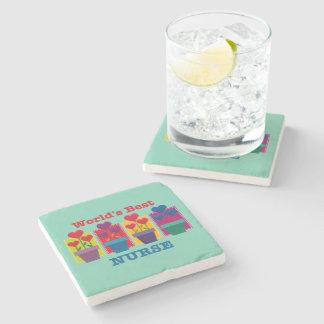 Heart Flower Best Nurse Stone Beverage Coaster