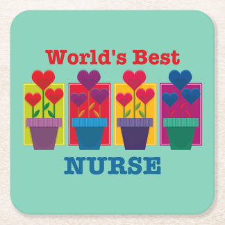Heart Flower Best Nurse Square Paper Coaster