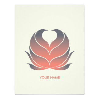 HEART FLOWER COMPLIMENT CARD CORAL