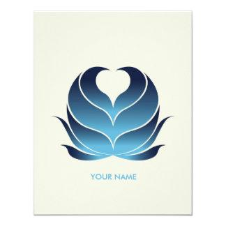 HEART FLOWER COMPLIMENT CARD DARKBLUE