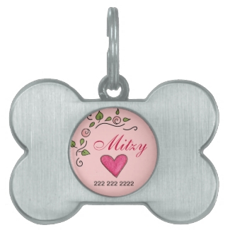 Heart & Flower Dog Tag