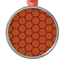 Heart Flower Pattern Metal Ornament