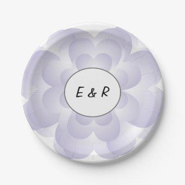 Valentines Themed Heart Flower Wedding Lavender Paper Plate