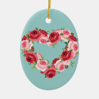 Heart Flower Wreath, Love Ceramic Ornament