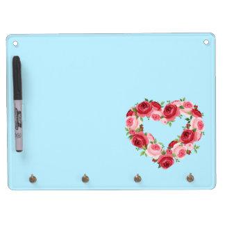 Heart Flower Wreath, Love Dry Erase Board With Keychain Holder