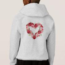 Heart Flower Wreath, Love Hoodie