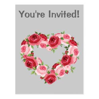 Heart Flower Wreath, Love Postcard