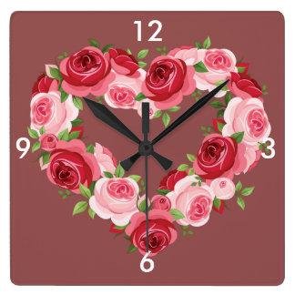 Heart Flower Wreath, Love Square Wall Clock