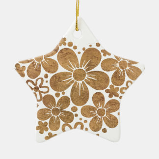 heart flowers 4 Double-Sided star ceramic christmas ornament