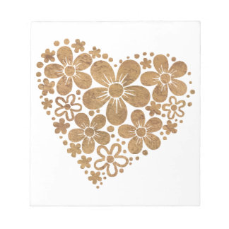 heart flowers 4 memo note pads