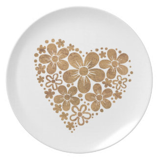 heart flowers 4 party plates