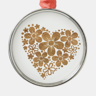 heart flowers 4 round metal christmas ornament
