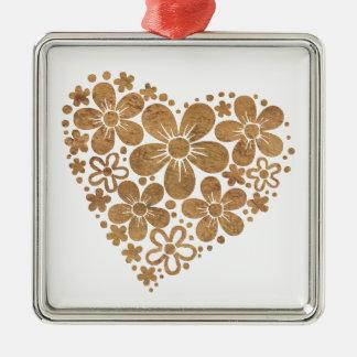 heart flowers 4 square metal christmas ornament