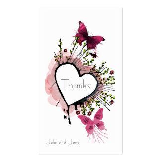 Heart, flowers and butterflies Thank You Card