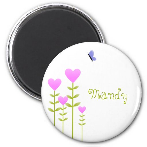 Heart Flowers and Butterfly 2 Inch Round Magnet